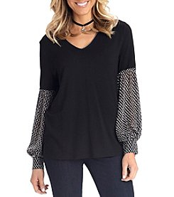Democracy Peasant Style Sheer Patterned Sleeve Blouse