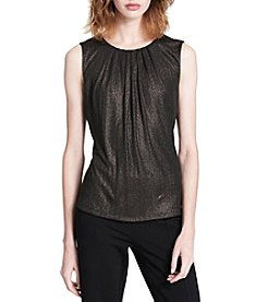 Calvin Klein Metallic Pleated Neck Cami Top
