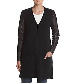 MICHAEL Michael Kors® Petites' Faux Leather Sleeve Cardigan