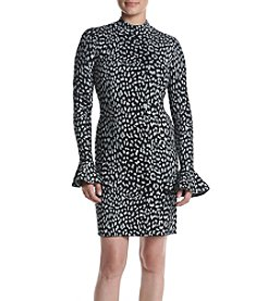 MICHAEL Michael Kors® Petites' Metallic Cheetah Sweater Dress