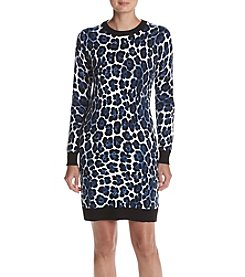 MICHAEL Michael Kors® Petites' Leopard Print Sweater Dress