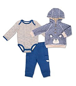 Cuddle Bear® Baby Boys' 3M-24M 3 Piece Bear Hoodie & Pants Set