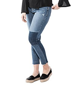 Silver Jeans Co. Plus Size Izzy Raw Hem Ankle Patched Jeans