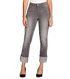 Black Daisy Kate Grey Star Detail Cuffed Straight Jean