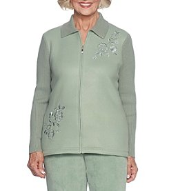 Alfred Dunner® Petites' Embroidered Fleece With Knit Sleeves