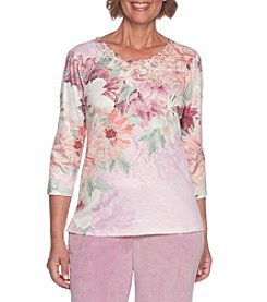 Alfred Dunner Petites' Asymmetrical Floral Top