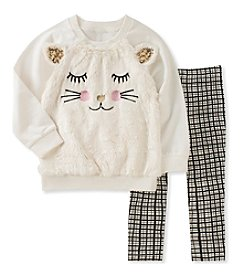 Kid's Headquarters® Girls' 12M-6X Cat Top & Leggings Set