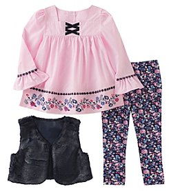 Kid's Headquarters® 12M-6X Girls' 3 Piece Faux Fur Vest Set