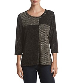 Alfred Dunner Petites' Patch Shimmer Tunic