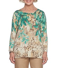Alfred Dunner Petites' Leaf Yoke Sweater