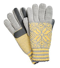 Isotoner Signature® Neverwet Black with Ivory Snowflake Print Gloves