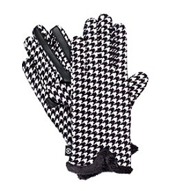 Isotoner Signature® Neverwet Houndstooth Print Fleece Gloves with Watch Vent