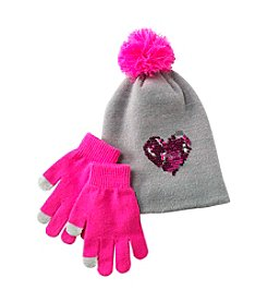 Miss Attitude Girls 7-16 Beanie With Sequins And Gloves Set