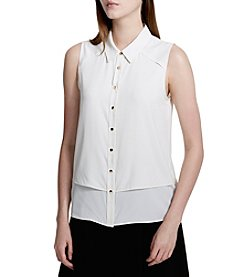 Calvin Klein Petites' Button Front Woven Top