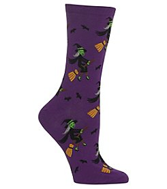 Hot Sox Witch on Broom Socks