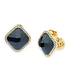 Anne Klein Gold-Tone Pave & Colored Stone Clip On Earrings