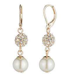 Anne Klein Goldtone Pave Orb & Pearl Double Drop Earrings