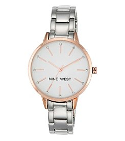 Nine West® Rose Goldtone and Silvertone Bracelet Watch