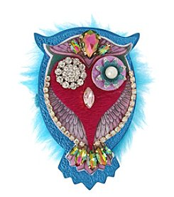 Betsey Johnson Simulated Crystal Owl Pin
