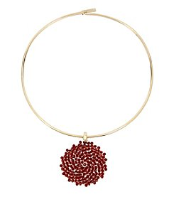 Kenneth Cole Goldtone and Red Woven Pendant Necklace