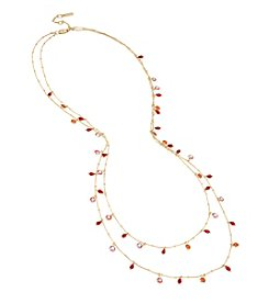 Kenneth Cole Goldtone and Red Multi-Row Stone Necklace