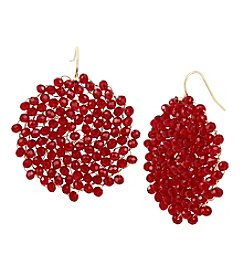Kenneth Cole Goldtone Red Woven Drop Earrings