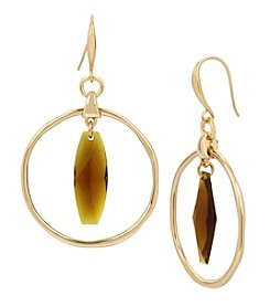 Robert Lee Morris Soho Goldtone Topaz Orbital Drop Earrings