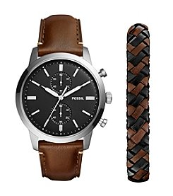 Fossil Men's Silvertone Leather Strap Watch