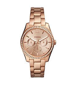 Fossil Rose Goldtone Round Bracelet Watch