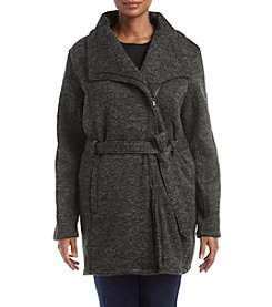 Steve Madden Plus Size Steve Madden Asymmetrical Zip Fleece Jacket