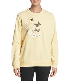 Breckenridge Woodland Butterflies Crew Neck Sweatshirt