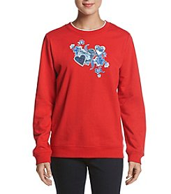Breckenridge Floral Denim Hearts Crew Neck Sweater