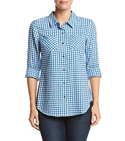 Ruff Hewn Flannel Gingham Split Hem Top