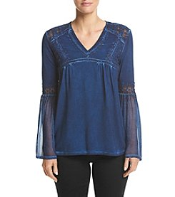 Ruff Hewn V-Neck Bell Sleeve Lace Inset Detail Top