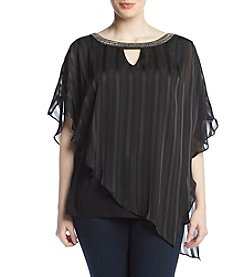 AGB Plus Size Satin Stripe Asymmetrical Pullover