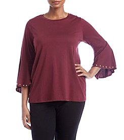 MICHAEL Michael Kors Plus Size Stud Detail Flutter Sleeve Top
