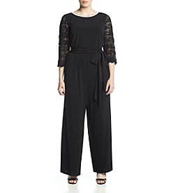 Jessica Howard Plus Size Lace Tie Belt Jumpsuit