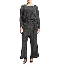 Jessica Howard Plus Size Silver Shimmer Drawstring Waist Jumpsuit