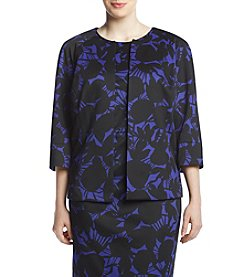 Kasper Plus Size Print Crop Fly Jacket