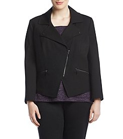 Kasper Plus Size Asymmetrical Zip Front Jacket