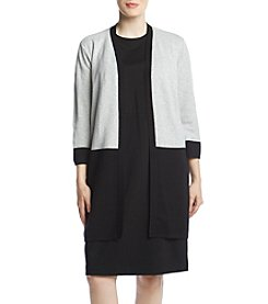 Kasper Plus Size Patch Pocket Cardigan