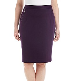 Kasper Plus Size Ponte Zip Detail Skirt