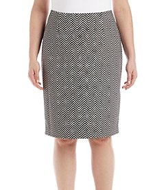 Kasper Plus Size Herringbone Slim Skirt