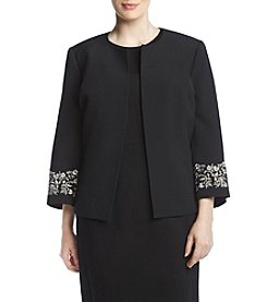 Kasper Plus Size Embroidered Sleeve Crepe Jacket