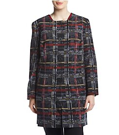 Nine West Plus Size Plaid Print Topper Jacket