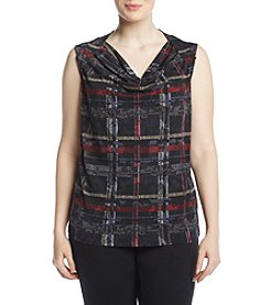 Nine West Plus Size Plaid Drape Neck Cami