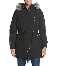 Steve Madden Faux Fur Hooded Drawstring Waist Coat