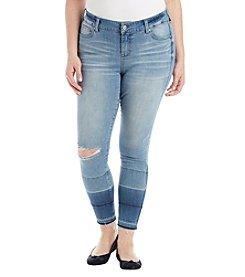 76cd1dc248d98 Celebrity Pink Plus Size Ombre Style Frayed Hem Cuff Skinny Jeans