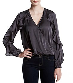 Sequin Hearts Wrap Front With Ruffle Sleeves