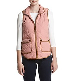 Sequin Hearts Faux Suede Detail Quilted Vest